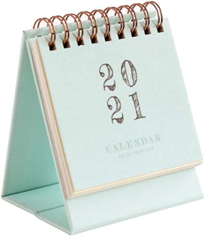 3,94 x 3,27 Pulgadas Fecha de septiembre de 2020 a diciembre de 2021 ZQYX Calendario de Escritorio peque/ño Calendario planificador 2021 de pie Mini Calendario de Escritorio mensual
