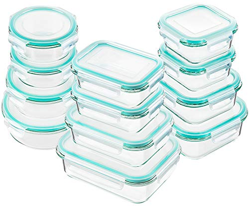 Bayco Glass Food Storage Containers with Lids, [24 Piece] Glass Meal Prep Containers, Airtight Glass Bento Boxes, BPA Free & FDA Approved & Leak Proof (12 lids & 12 Containers) (Transparent Snap Blue)