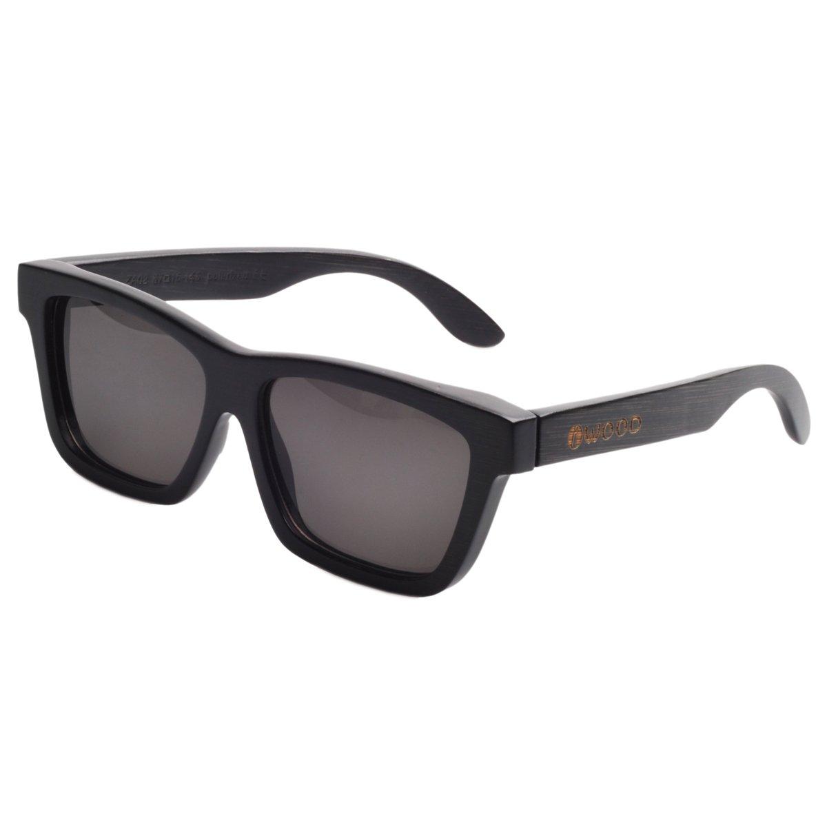 Iwood Marco de bambú Handcrafted Pintura Negro polarizado Gris lente Gafas de sol madera