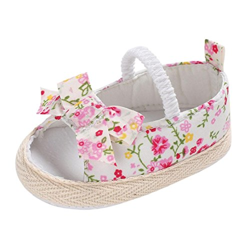 Voberry Baby Infant Girls Bowknot Sandals Summer Canvas Mary Jane Flat Shoes (6~12 Month, Floral Pink)