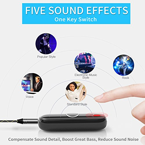 BT Adapter Bluetooth Dongle for Headphones Stereo Car, ULBRE Wearable Low Latency Audio Receiver w Clip n Microphone, Wireless Portable 3.5mm Aux Kit for Earphone, Headset, Speaker, Sport, Answer Call by ULBRE (Image #2)