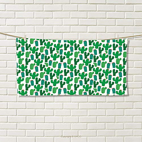 smallbeefly Exotic Sports Towel Vibrant San Pedro Cactus Foliage Climate Desert Flourishing Mexican Plants Absorbent Towel Forest Green Red Size: W 12'' x L 35.18'' by smallbeefly