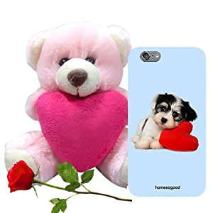 Homesogood Lovely Cute Puppy Blue 3D Mobile Case For iPhone 6 (Back Cover) With Teddy & Red Rose