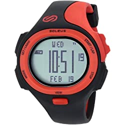 Soleus Men's SR008010 P.R. Grey Digtial Dial with Black and Red Polyurethane Strap Watch