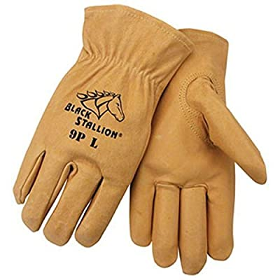 Black Stallion 9P Premium Grain Pigskin Driving Gloves, Large