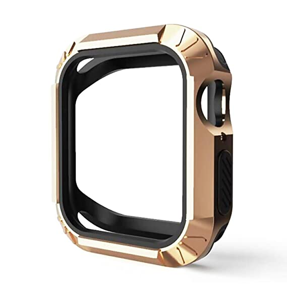 Case Replacement for Apple Watch Series 4 44mm Case Flexible TPU + PC Bumper Case for iWatch Series 4 40mm (Gold, 44mm)