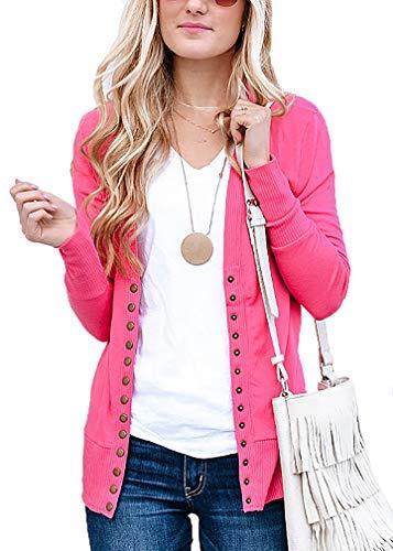 (JNTOP Women's Women's V-Neck Long Sleeve Soft Basic Knit Snap Cardigan Hot Pink Small)
