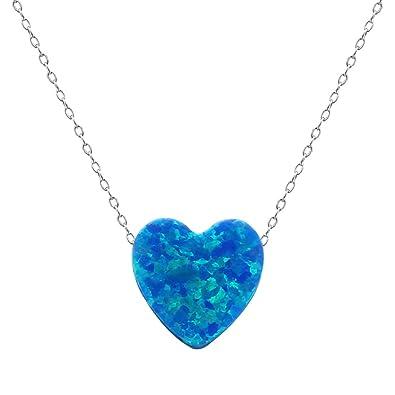 ae92849eda340b Cute Heart Shaped Fire Opal Stone Pendant 925 Sterling Silver Choker Necklace  Opal Jewelery (Blue