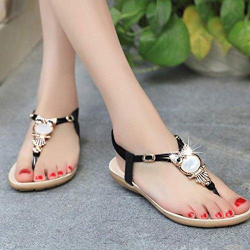 SMARTLADY Mujer Sandalias de Chanclas Playa Zapatos de Búho Diamante de imitación Negro
