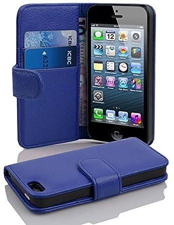 Cadorabo Hülle für Apple iPhone 5 / iPhone 5S / iPhone SE - Hülle in KÖNIGS BLAU – Handyhülle mit Kartenfach aus struktrierte