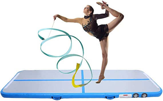 Air Track Floor Home Inflatable Gymnastic Tumbling Mat GYM Exercise Yoga//Pump