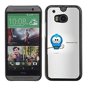 KOKO CASE / HTC One M8 / llorar lágrimas cotización dulce cariñoso amor de dibujos animados / Delgado Negro Plástico caso cubierta Shell Armor Funda Case Cover