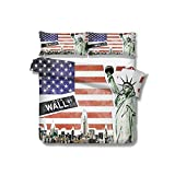 Queen Duvet Cover NYC Collage with Famous Monuments Wall Street and Manhattan Urban Display 100% Cotton Bedding, 1 Quilt Cover and 2 Pillowcases, Zip Closure 89x89 inch