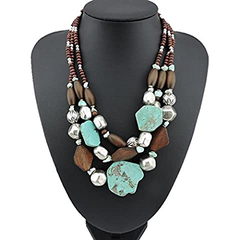 BOCAR Personalized Layered Strands Turquoise Statement Chunky Necklace for Women Gifts (124) (Womens Chunky Jewelry)