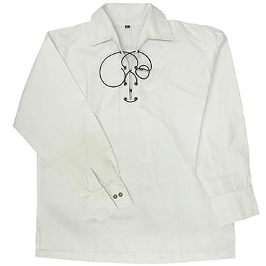Tartanista White Scottish Highland Jacobite Ghillie Shirt Size S