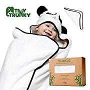 Tiny Trunky Premium Panda Bamboo Baby Hooded Towel with FREE Bath Washcloth - ULTRA SOFT, Organic Bamboo, Antibacterial, Hypoallergenic Towel for Infants - Keeps Newborn Baby Toddlers Dry & Warm