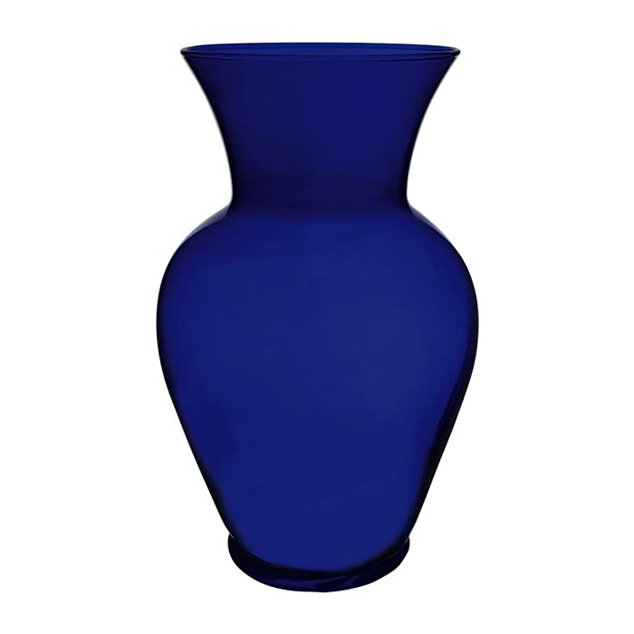 "Floral Supply Online 10 5/8"" Cobalt Blue Spring Garden Vase - Decorative Glass Flower Vase for Floral Arrangements, Weddings, Home Decor or Office."