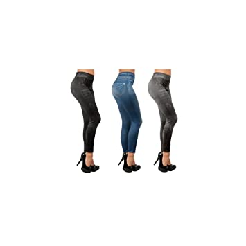 0068ed8f4d2 JEGGINGS AMINCISSANTS  SLIM JEGGINGS X3 VU A LA TV (NOIR