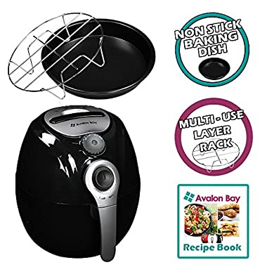 Avalon Bay AirFryer with Rapid Air Circulation Technology, Large 3.2L Capacity, Temperature up to 400 Degrees, Oil-Less Healthy Air Fryer, Black, AB-Airfryer100B