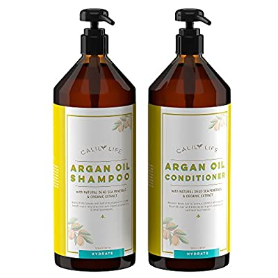 Calily Life Organic Moroccan Argan Oil Shampoo (33.8 Fl.Oz) + Conditioner with Dead Sea Minerals (30.6 fl.oz) , Duo Set, Concentrated Extra-strength Formula - Restores, Enhances, Softens and Shines