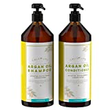 Calily Life Organic Moroccan Argan Oil Shampoo + Conditioner with Dead Sea Minerals, Duo Set, 33.8 Fl. Oz. Each - Concentrated Extra-strength Formula - Restores, Enhances, Softens and Shines