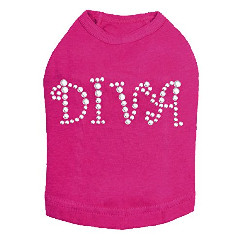 Diva Dog Tee (Dog in the Closet, Diva - Silver Rhinestuds - Dog Tank)