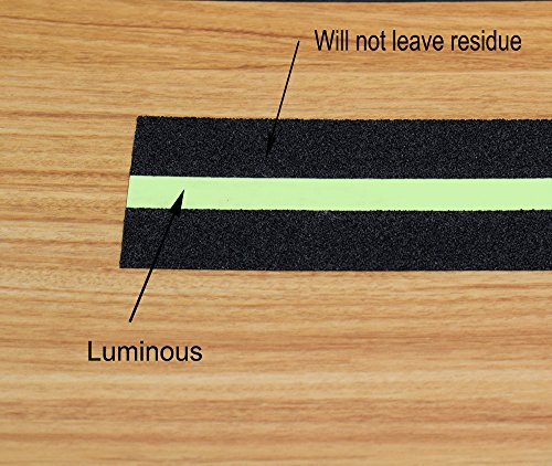 Anti Slip Tape Luminous , Yorwe Glowing in the Dark with Green Fluorescent Strips Safety Track Tape (2''width x 190''long,Luminous) by Yorwe (Image #2)