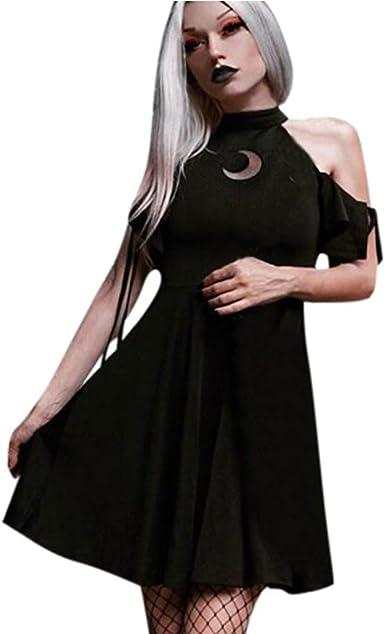 Lester Nell - Vestido de encaje para mujer, diseño de luna, estilo rockabilly, estilo vintage, años 50, falda plisada Negro M: Amazon.es: Ropa y accesorios