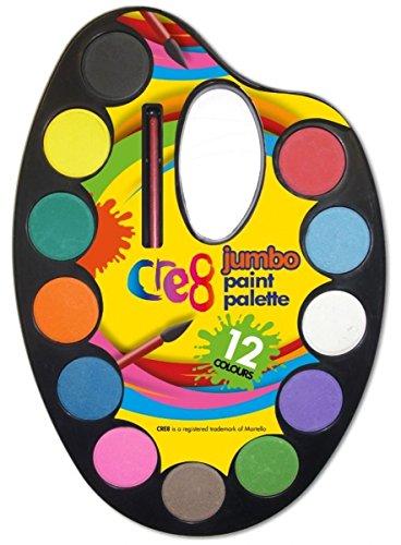 Cre8, Childrens Water Colour Paint Palette & Brush Set, 12 Colour. Martello