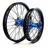MojoMotoSport - KTM Complete Front/Rear Wheel Set 1.6 x 21 / 2.15 x 19 Black Rim/Silver Spoke/Blue Hub | MOJO-KTM-WS-BLU-2119