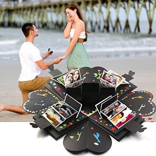 auto Creative Explosion Gift Box, DIY - Love Memory, Scrapbook, Photo Album Box, as Birthday Gift, Wedding or Valentine's Day Surprise Box (Black)