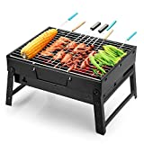 Barbecue Grill Uten Portable Lightweight Simple Charcoal Grill Perfect Foldable Premium BBQ Grill for Outdoor Campers Barbecue Lovers Travel Park Beach Wild etc.[Small, Black]