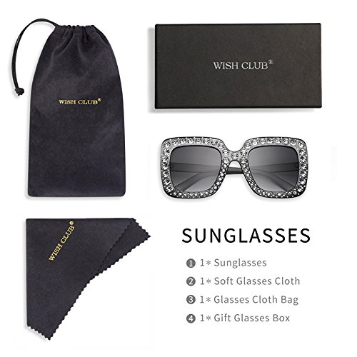 Large Product Image of Sunglasses For Women RAYSUN Brand Designer Sparkling Crystal Sunglasses Oversized Square Thick Frame