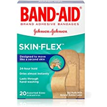 Band-Aid Brand Skin-Flex Adhesive Bandages for First Aid and Wound Care, Assorted Sizes, 20 ct