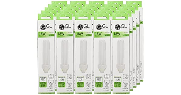 Goodlite G-20361 18-watt Compact Fluorescent Plug-In 2-Pin Light Bulb with G24D-2 Base Cool White 50-Pack