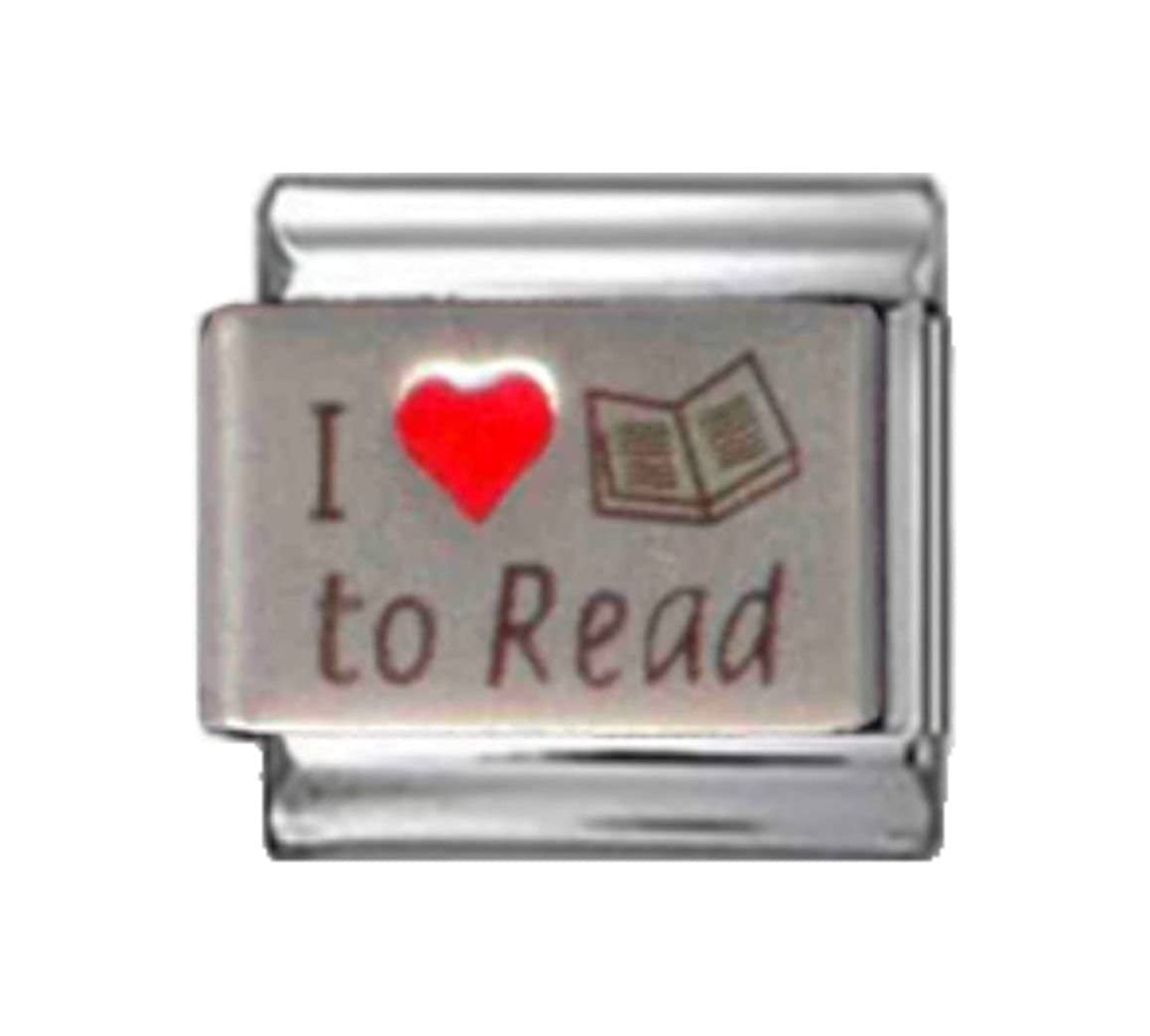 Stylysh Charms Reading I Love to Read RH Laser Italian 9mm Link NC077