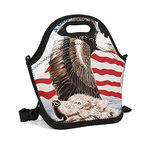 - CBBYY Lunch Tote Insulated Reusable Picnic Lunch Bags Boxes Flag Eagle Wolf Lunchbox for School Work Office