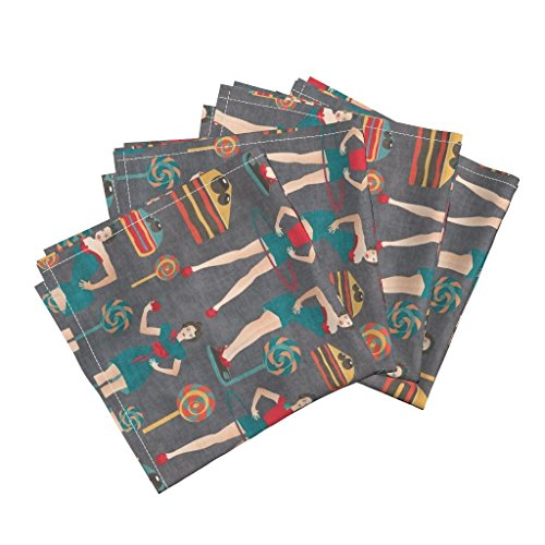 Roostery Pin Ups Organic Sateen Dinner Napkins Pin Ups Get Fit by Kociara Set of 4 Cotton Dinner Napkins made by by Roostery