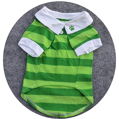 New Cute Dog Puppy T Shirt Clothes Lapel Stripe Cotton Summer Pet Clothes for Small Dogs Chihuahua,Green,XS ()
