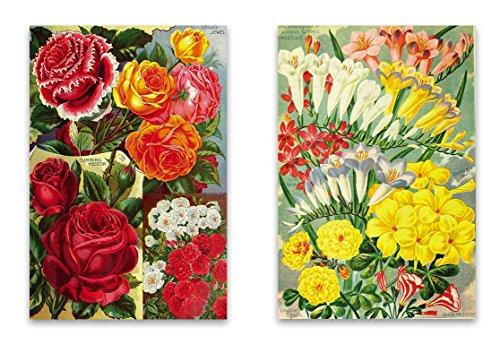 "Vintage Botanical Garden Fridge Magnet Set - 2""x3"" Magnets featuring Seed Catalog Illustrations of Flowers for Kitchen Art, Office Decor, Gardener Gift for Adults, Kids, Men & Women - Made in USA"