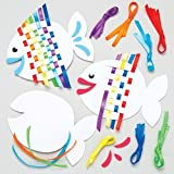 Baker Ross Ltd Rainbow Fish Weaving Kits Kids - Summer Craft Sets Children to Make (Pack of 6)