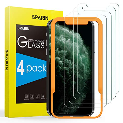 [4 Pack] Screen Protector for iPhone 11 Pro/iPhone Xs/iPhone X, SPARIN Tempered Glass Screen Protector for iPhone 11 Pro 2019 (5.8 Inch) - Alignment Frame/Highly Responsive