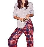 Victoria's Secret , Women's The Dreamer Henley Red Blue Plaid Pajama 2 Piece PJ Set Medium