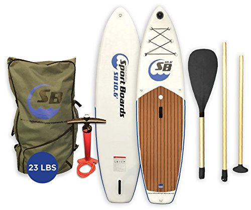 Inflatable Sport Board AIRBO 10.6' Premium Inflatable Stand Up Paddle Board with ISUP Backpack - Double Action Pump - 3 Piece SUP Paddle