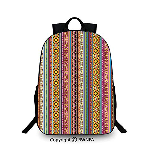 Notebook computer schoolbag,Folk Aztec Pattern with Native American Tribal Effects and Geometric Forms Artwork Decorative Travel College School Bags Multicolor