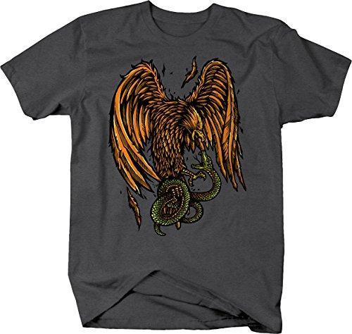 M22 Golden Eagle Hawk Fighting Snake Predators Tshirt - Large ()