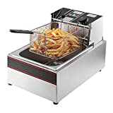 Flexzion Deep Fryer 1700W 6 Liter Stainless Steel Electric Fryer w/Fry Basket for Commercial Restaurant, Countertop, Kitchen w/Adjustable Temperature, Built-in Timer, CE Certified & UL Listed