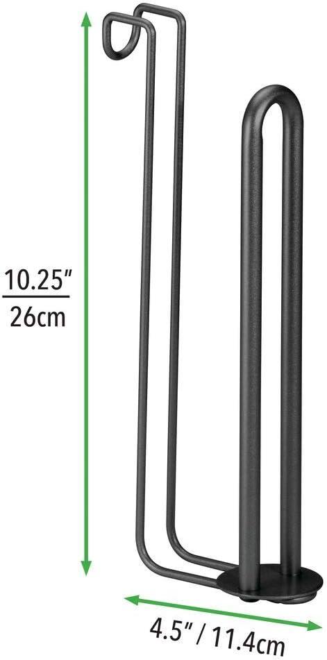 mDesign Porta carta igienica di scorta argento Portarotolo bagno da appendere allo sciacquone senza viti Sostegno per rotoli di carta igienica con spazio per 2 rotoli