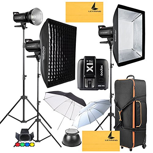 GODOX SK300II 900W 2.4G Photography Flash Studio Strobe Kit Three 300w Sk300II Monolight Lighting,Includes 3X 300W SK300II Strobe Light+3X Light Stand+2X60X90CM Soft Box+GODOX X1T-F for Fuji Cameras by Godox