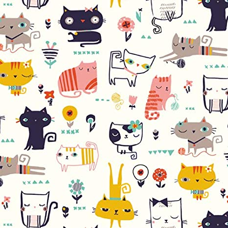 Dashwood Studio Cool for Cats - Tela de algodón para Gatos (50 x 110 cm, Medio Metro), Color Blanco: Amazon.es: Hogar